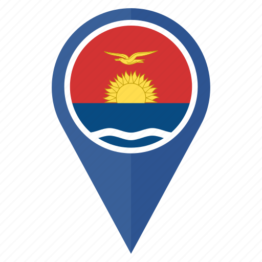 circle, country, flag, kiribati, location, nation, navigation icon