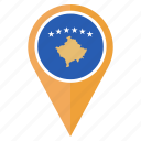 country, flag, kosovo, location, nation, navigation, pin icon