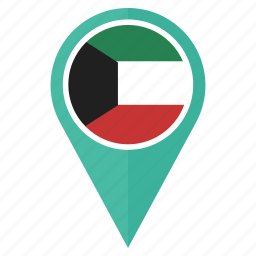 country, direction, flag, kuwait, location, navigation, pin icon