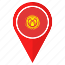 flag, kyrgyzstan, country, location, nation, navigation, pin icon