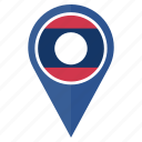 country, flag, laos, location, map, navigation, pin icon