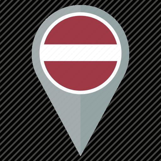 country, flag, latvia, location, nation, navigation, pin icon