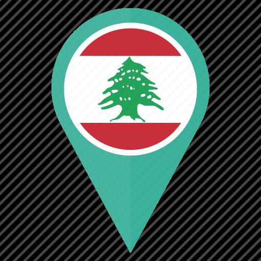 country, flag, lebanon, location, nation, navigation, pin icon