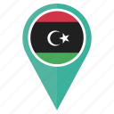 country, flag, libya, location, map, pin, pointer icon