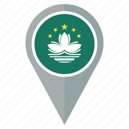 country, flag, location, macau, national, navigation, pin icon