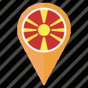 country, flag, location, macedonia, nation, navigation, pin icon