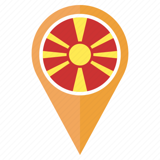 country, flag, location, macedonia, nation, navigation, pin icon