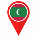flag, location, maldives, navigation, pin, pointer icon