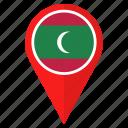 flag, location, maldives, navigation, pin, pointer icon