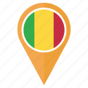 country, flag, location, mali, navigation, pin icon