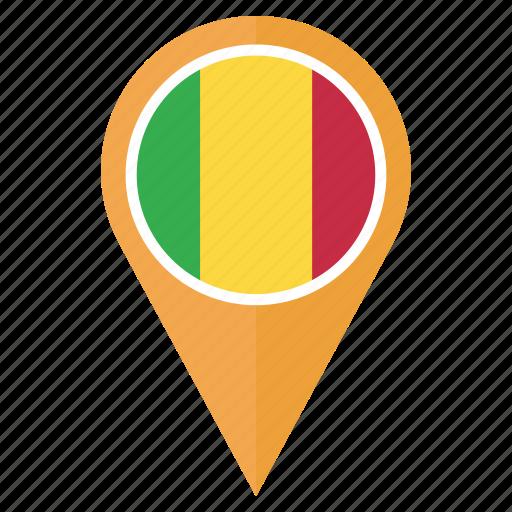 country, flag, location, mali, navigation, pin icon