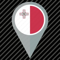 country, flag, malta, nation, national, navigation, pin icon