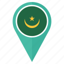 flag, mauritania, country, location, nation, navigation, pin