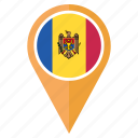 country, flag, location, moldova, navigation, pin, pointer icon