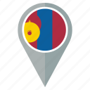 country, flag, mongolia, nation, national, navigation, pin icon
