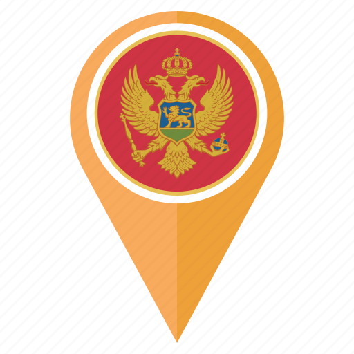 country, flag, location, montenegro, national, navigation, pin icon
