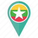country, flag, location, myanmar, nation, national, pin icon