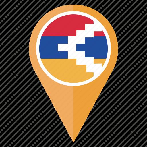 country, flag, nagorno karabakh, navigation, pin, pointer icon