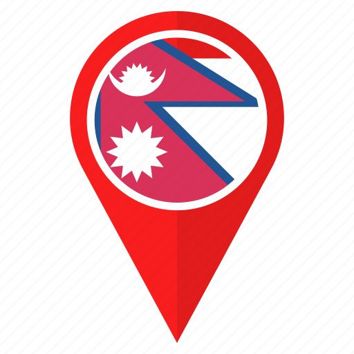country, flag, nation, navigation, nepal, pin, pointer icon