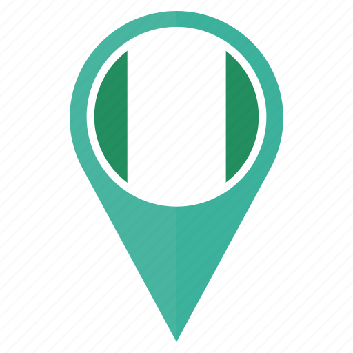 country, flag, location, map, navigation, nigeria, pin icon