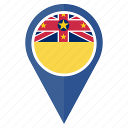 flag, location, national, navigation, niue, pin, pointer icon