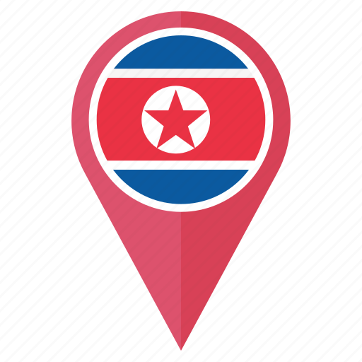 country, direction, flag, korea, location, navigation, north icon