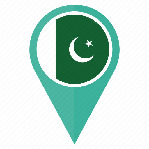 country, direction, flag, location, navigation, pakistan, pin icon