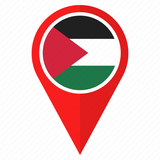 flag, location, map, national, navigation, palestine, pin icon