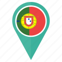 country, direction, flag, location, navigation, pin, portugal icon