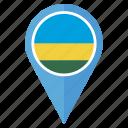 country, flag, location, map, navigation, pin, rwanda icon