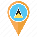 country, flag, location, nation, navigation, pin, saint lucia icon