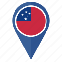 country, flag, location, navigation, pin, pointer, samoa icon