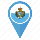 country, flag, marino, national, navigation, pin, san icon