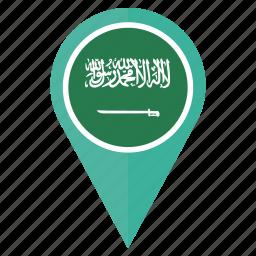 arabia, country, flag, location, navigation, pin, saudi icon