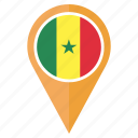 country, flag, location, nation, navigation, pin, senegal icon