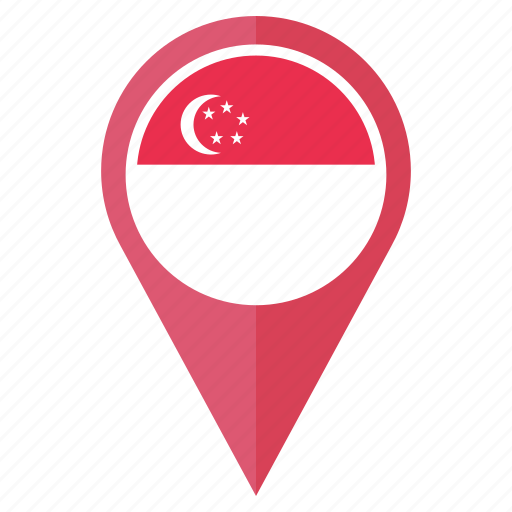 country, flag, location, national, navigation, pin, singapore icon