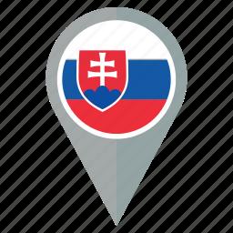 country, flag, location, nation, navigation, pin, slovakia icon