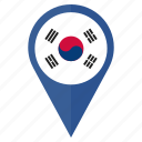 country, flag, location, nation, pin, south korea icon