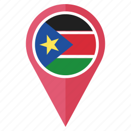 country, flag, location, navigation, pin, pointer, south sudan icon