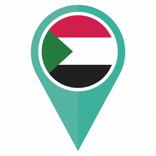 country, flag, location, national, navigation, pin, sudan icon