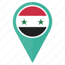 country, flag, location, map, navigation, pin, syria icon