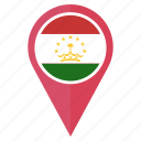 country, flag, location, nation, navigation, pin, tajikistan icon