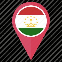 country, flag, location, nation, navigation, pin, tajikistan icon