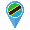 country, flag, location, nation, navigation, pin, tanzania icon