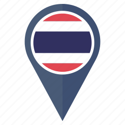 country, flag, location, nation, navigation, pin, thailand icon