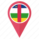 country, flag, location, nation, navigation, pin, the central african republic icon