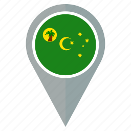 country, flag, location, nation, navigation, pin, the cocos islands icon
