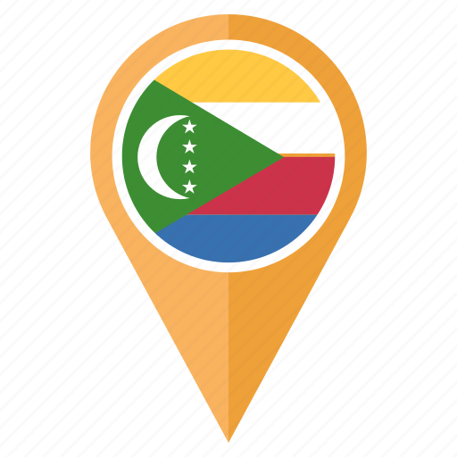 comoros, country, flag, location, national, pin, the icon