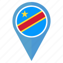 country, democratic, flag, nation, pin, the republic of the congo icon