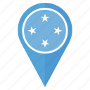 country, flag, location, navigation, pin, the federated states of micronesia icon